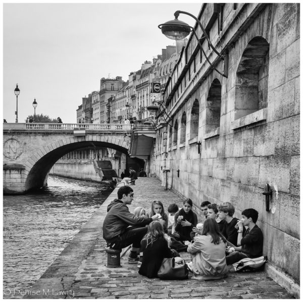 Students on Banks of Seine Black & White